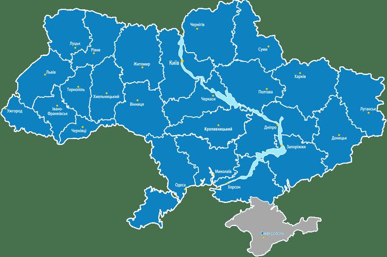 Карта регионов в которых мы работаем.
